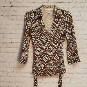 Diane Von Furstenberg 100% Silk Wrap Top